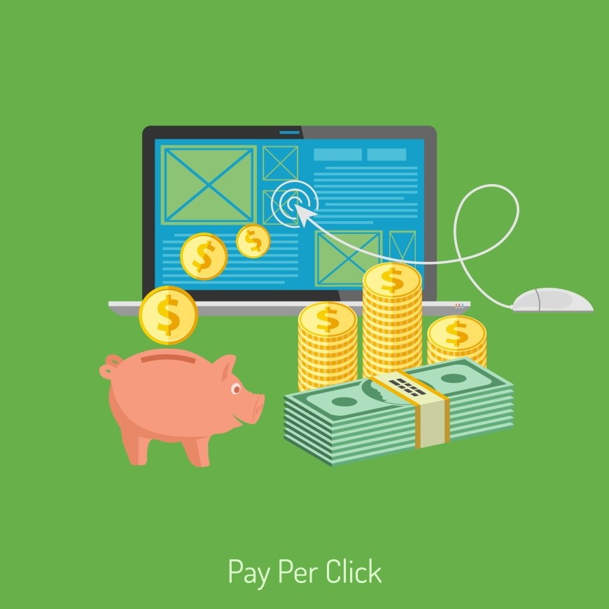 Concepts for Online Internet Technology - Pay per Click Flat Icons. Can be used for web banners and printing advertising. Vector Illustration.
